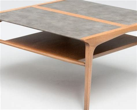 mid century coffee table by drexel with wrapped leather