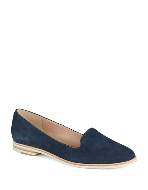 navy blue loafers womens connection damini suede loafers in blue navy lyst