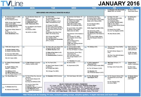 Calendar Series Tv Calendar January 2016 Premiere And Finale Dates Tvline