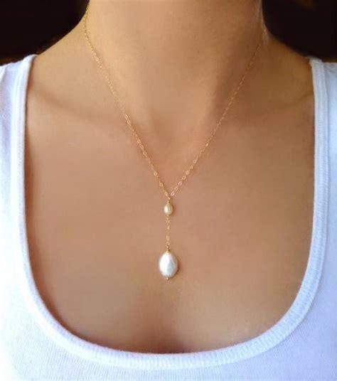 beaded freshwater pearl necklace dainty pearl teardrop - Braut Perlenschmuck