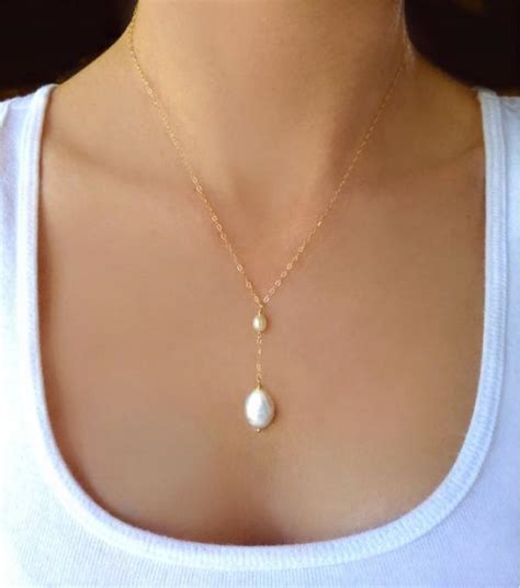 Beaded Freshwater Pearl Necklace   Dainty Pearl Teardrop Necklace   Bridal Pearl Jewelry