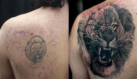 back shoulder black and grey lion cover up tattoo