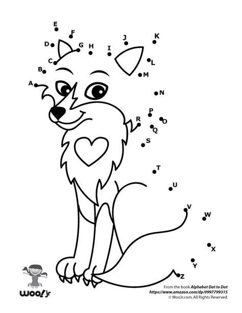 printable alphabet dot to dot worksheets cute fox dot to dot woo jr kids activities