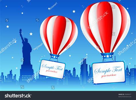 Baloon On Newyork illustration of air balloon flying on american city
