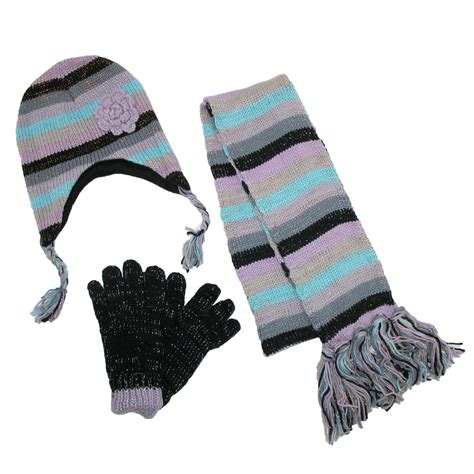 womens striped with rosette hat gloves and scarf winter