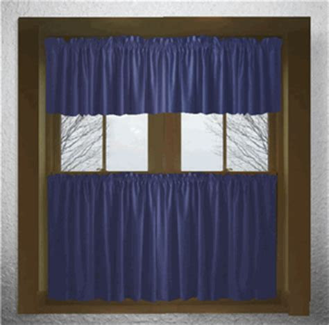 solid navy blue cotton kitchen tier cafe curtains