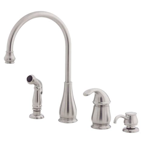 price pfister single handle kitchen faucet repair pfister treviso single handle side sprayer kitchen faucet and soap dispenser in stainless steel