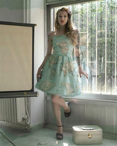 world map dress printed strapless cotton summer dress map