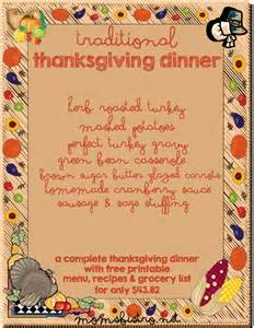thanksgiving dinner menu traditional gallery for gt traditional thanksgiving dinner menu list