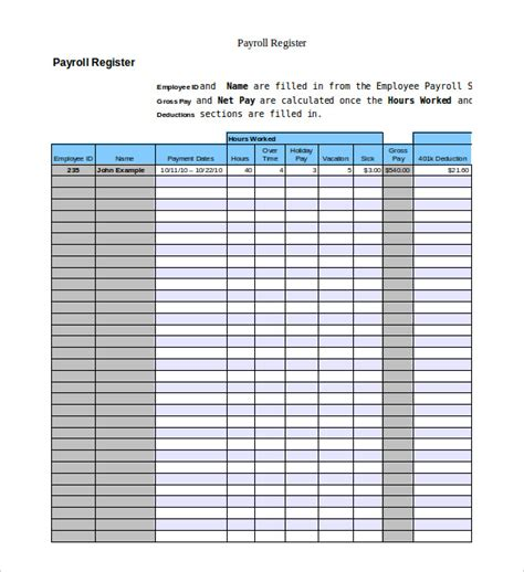 payroll register template employeenpayroll register template exle excel