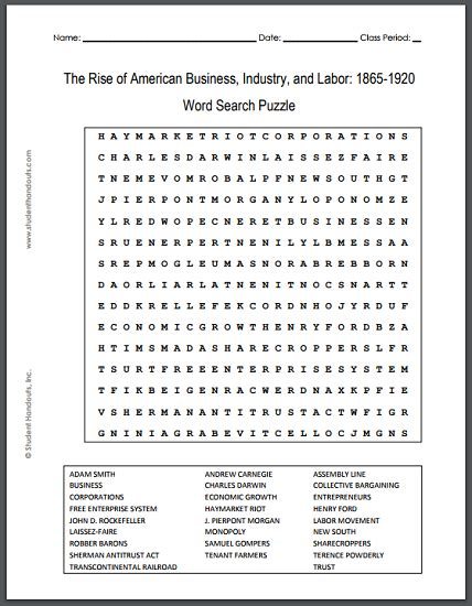 printable word search business rise of american business industry and labor 1865 1920