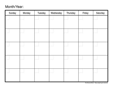 free monthly calendar template free monthly calendar template