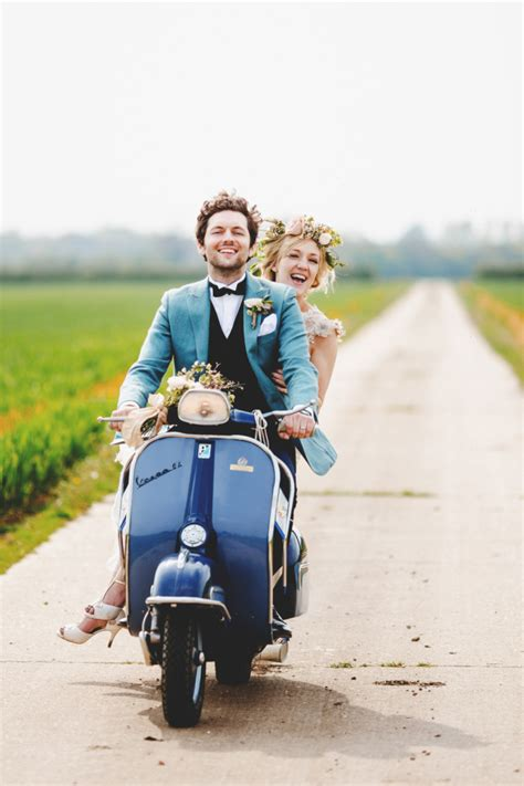 Wedding Vespa by And Groom On Scooter Grand Exit Emmaline