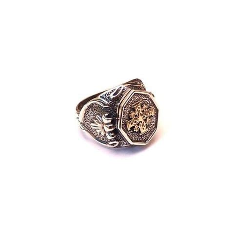 silver signet ring with gold jerusalem cross signet
