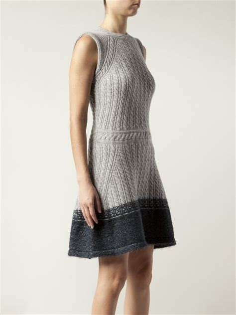 grey knit dress thakoon sleeveless cable knit dress in gray grey lyst