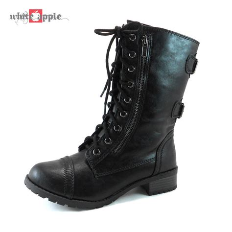 womans combat boots combat mid calf lace up zipper boots