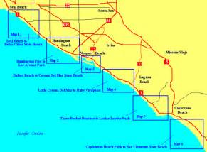 map of california coastline beaches orange county beaches