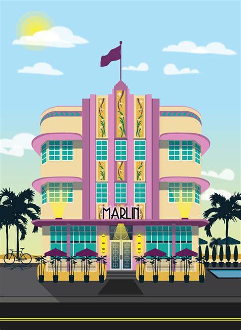 Design Graphics Miami | art deco miami hotel illustrations on behance