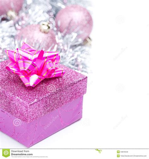 christmas composition  pink gift box  baubles stock photo image