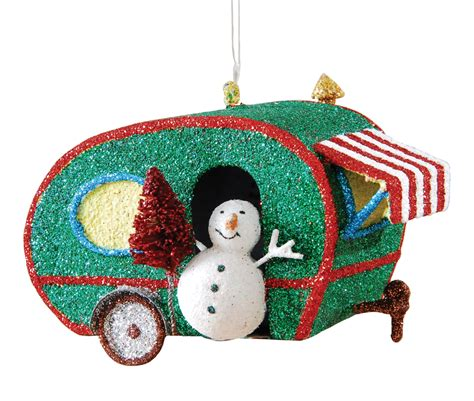 glitter retro look teardrop rv cer w snowman metal