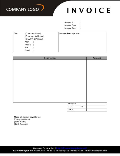 template for invoice free sle invoices templates free