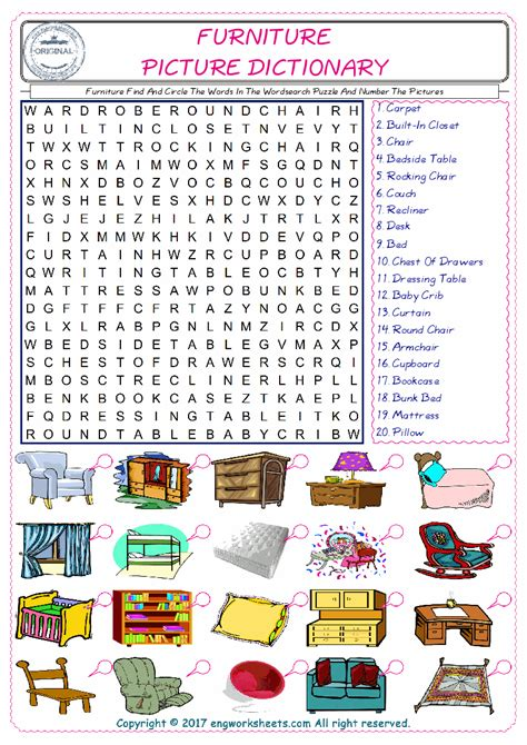 couch words furniture find and circle the words in the wordsearch