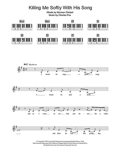 tutorial piano killing me softly killing me softly with his song sheet music by fugees