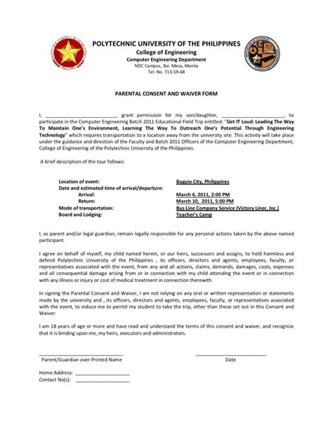 Parent Consent Letter For Work In Philippines Parental Consent And Waiver Edited
