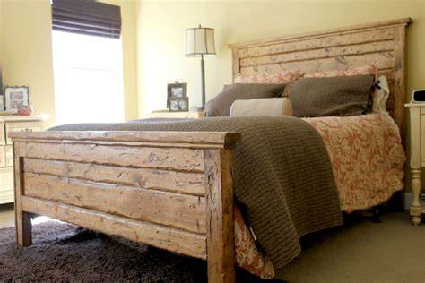 Wooden King Bed Headboards King Reclaimed Wood Headboard And Footbaord