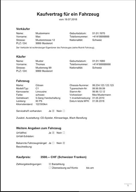 Kaufvertrag Motorrad Vorlage Kostenlos by Kostenlose Vorlagen F 252 R Word Excel Briefvorlagen Ch