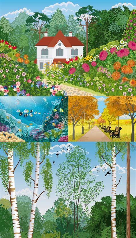 4 seasons landscape four seasons of landscape vector landscape