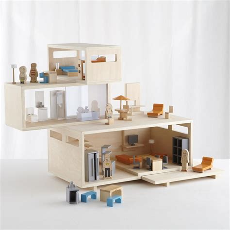 modern dollhouse and furniture set miniature
