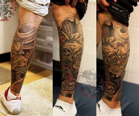 japanese leg tattoos for men right leg japanese design for