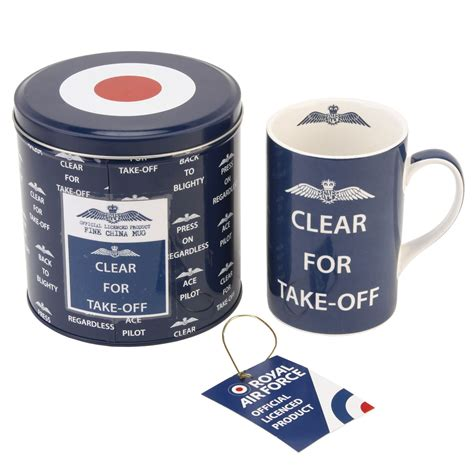 Cleared For Take Product by Raf China Mug In Gift Tin Box Royal Air Slogan
