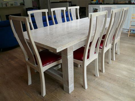 lime washed handmade oak refectory dining table with - Lime Washed Oak Dining Table