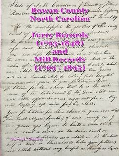Rowan County Records Rowan County N C Mill And Ferry Records 1769 1895 By Stewart Dunaway Paperback
