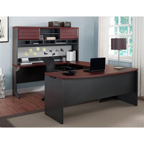 grey desk with hutch altra benjamin u shaped desk with hutch cherry and gray
