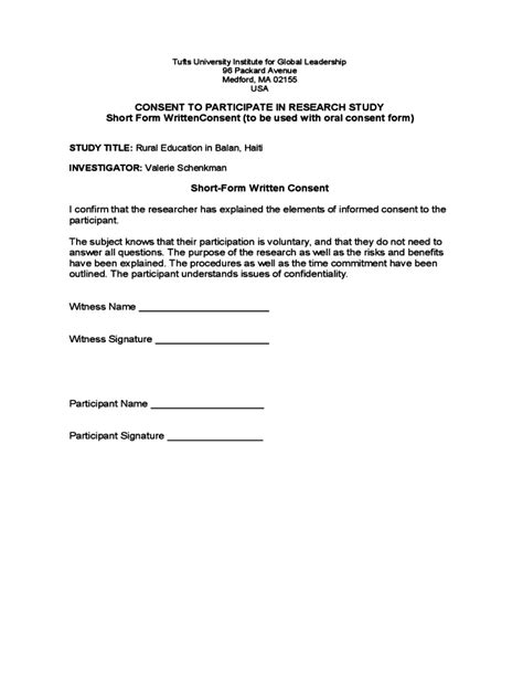 Sle Of Letter Of Consent For Research Research Consent Form Sle Tufts Free