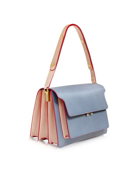 In The Bag lyst marni sky and pink sand leather trunk bag in blue
