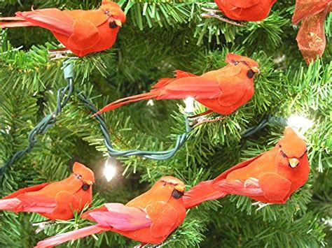 feathered red cardinal xmas ornament cardinal clip on tree ornament decorations velvet feathers set of 12 4