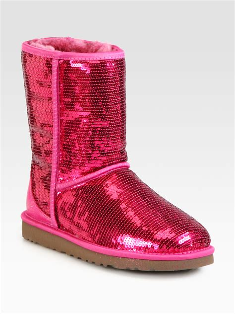 Light Pink Uggs Ugg Classic Short Sequin Boots In Pink Lyst
