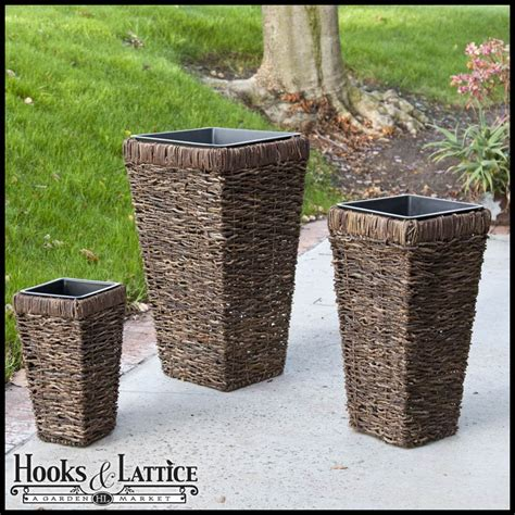 wicker planters rattan planters hooks lattice