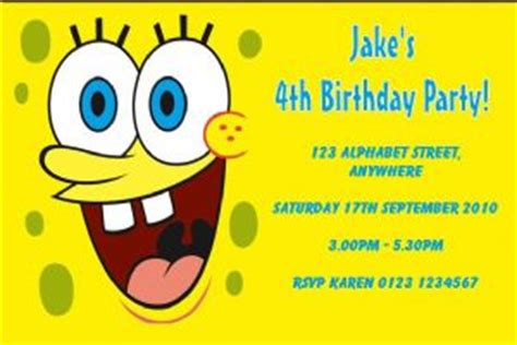 spongebob id card template personalised spongebob squarepants invitations