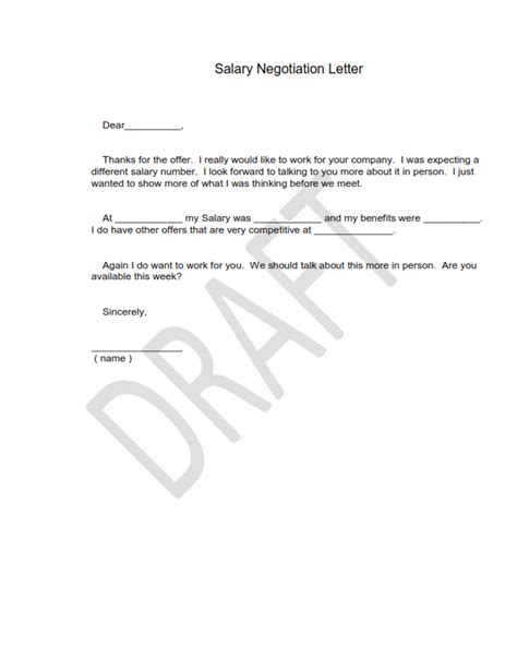 Salary Raise Negotiation Letter Sle Salary Negotiation Letters Template