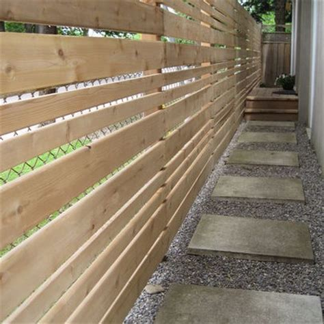 love the wood fence to hide the chain link fence and the pea gravel and pavers path outside