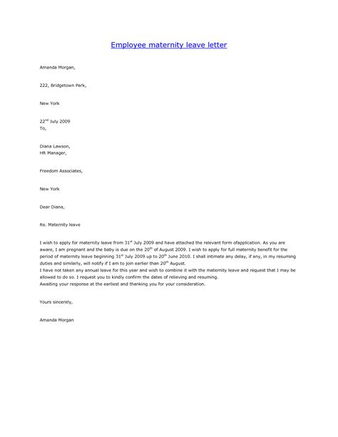 Leave Of Absence Letter Sle For Employer Letter Of Maternity To Employer Template 28 Images Employee Maternity Leave Letter Hashdoc