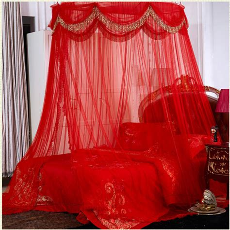 red canopy bed curtains red luxury ellipse mosquito net bed canopy princess