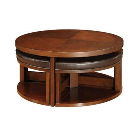round coffee table with 4 ottomans homesullivan round cocktail table with 4 ottomans in brown