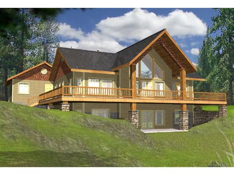 lakefront cabin plans lake house plans with rear view wrap around lakefront