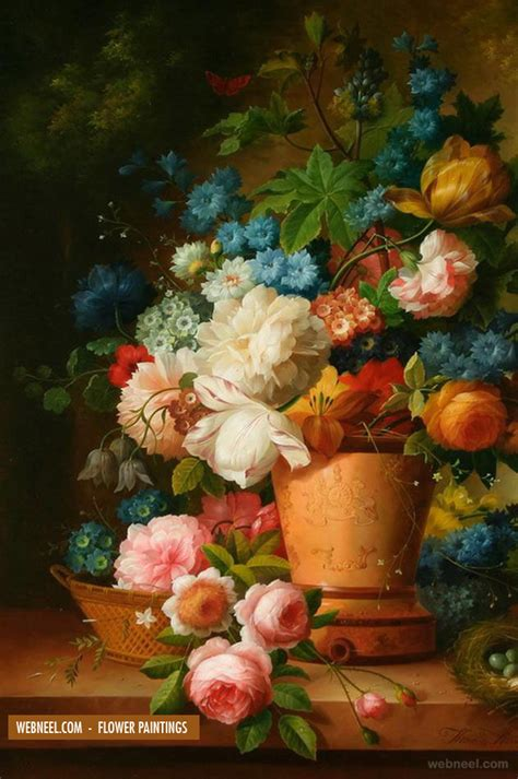 Handmade Paint - 40 beautiful and realistic flower paintings for your